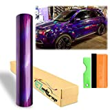 EZAUTOWRAP Free Tool Kit Purple Holographic Rainbow Neo Chrome Car Vinyl Wrap Sticker Decal Film Sheet - 12'X60' (1FT X 5FT)
