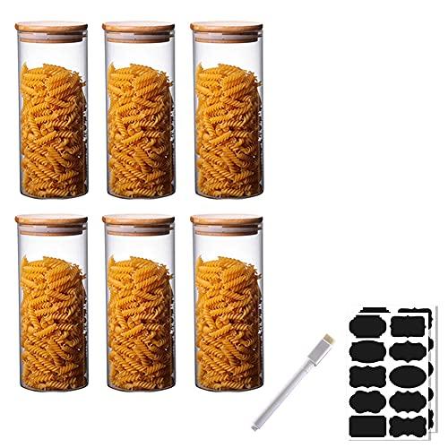 Rummyluck Hermeticidad Tarros de Almacenamiento Juego de 6 Tarros de Cristal con Tapa de Bambú para Especias / Frijoles / Polvo / Azúcar / Espaguetis (8.5*20 CM;950 ML)