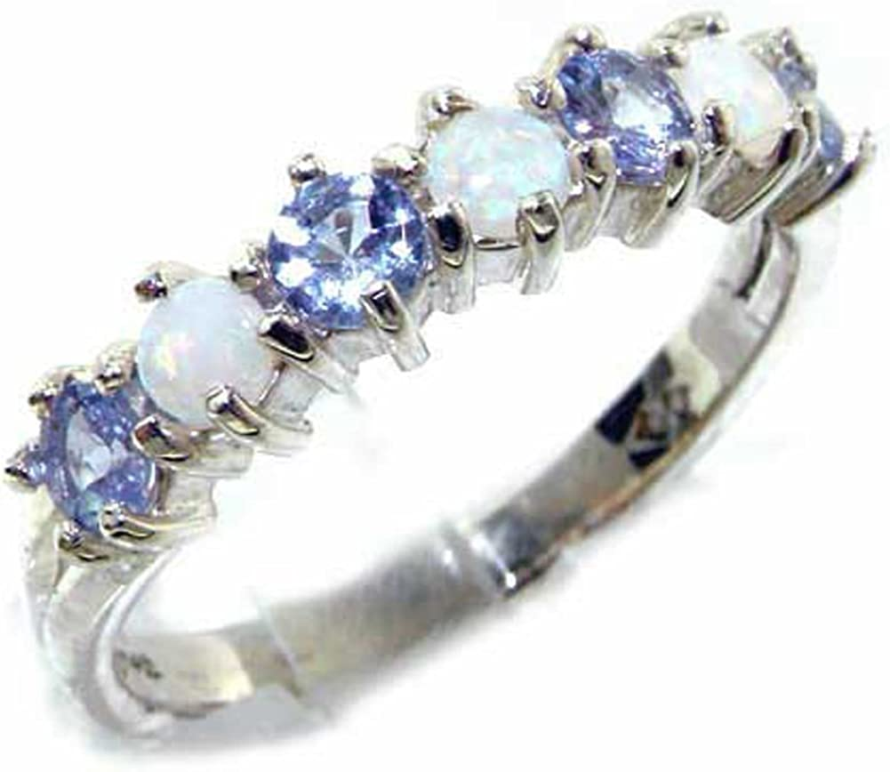 LetsBuyGold 18k White Gold Real Genuine Opal & Tanzanite Womans Eternity Ring