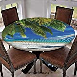 "Elastic Edged Polyester Fitted Table Cover,Hammock on The Sandy Beach Between Palm Coconut Overlooking Sea Nature Art,Fits up 45""-56"" Diameter Tables,The Ultimate Protection for Your Table,Cream Navy"