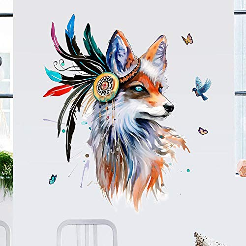 Qingmo Vinilo adhesivo para pared, 60 x 90 cm, diseño de lobo