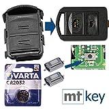 Repair Kit de réparation pour clé de Voiture avec 2 Boutons + Boutons-poussoirs + Pile CR2032 compatible avec Opel Corsa C...