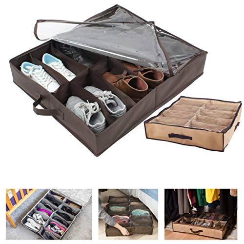 Max Solutions, organizer per scarpe da sotto il letto, grande fino a 12 tasche, protegge le scarpe da insetti, polvere e umidità