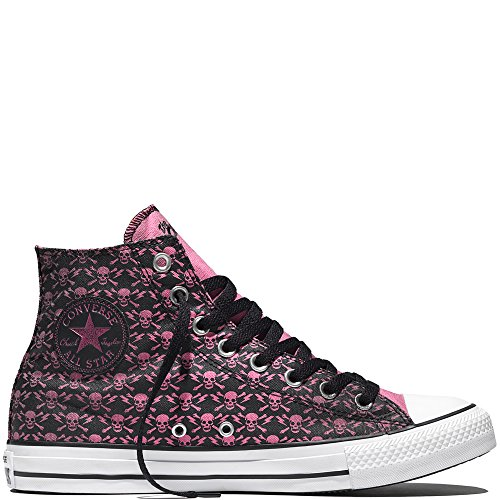 Converse Chuck Taylor All Star High The Clash Kollektion Limited Edition \'Skulls, Bones and Flashes\' Black/Chateau Rose/White 155073C 12 Mens 14 Womens 12 UK 46,5 EU 30.5 cm