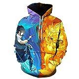 cshsb Naruto Sudadera con Capucha Niño Anime Ropa Deportiva Impresión Digital 3D Cosplay Jersey Informal Suelto,XS-S