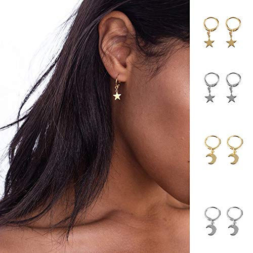 Huggie Dangle Hoop Earrings, Small Gold Silver Star Moon Earrings with Trendy Style for Women Ear Piercing Simple Jewelry, 4 Pairs