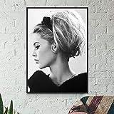 sanzhisongshu Póster De Moda Francesa De Brigitte Bardot, Modelo Famoso En Blanco Y Negro, Imagen Artística, Pintura, Decoración De Pared, Impresiones En Lienzo J940X50Cm