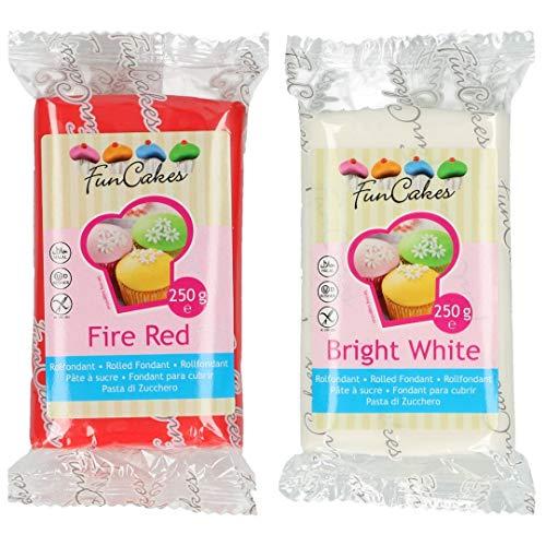 Funcakes - 2 X Paquetes de Fondant/Pasta de azucar de 250g (Rojo y Blanco)