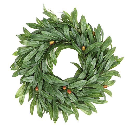 TrusMe 16 Inch Door Wreath Artificial Real Wicker Frame Faux Olive Leaves UV Resistant Farmhouse Home Decor Built-In Hanging Loop