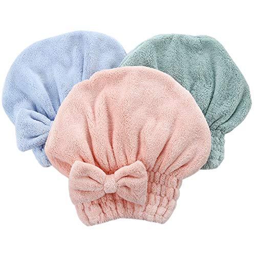 Beaupretty 4pcs Bonnet de Douche à Séchage Rapide avec Noeud Papillon Serviette Chapeau de Cheveux Secs Absorbant en Polaire Corail Capuchon de Séchage de Cheveux (Rose + Bleu + Café + Vert)