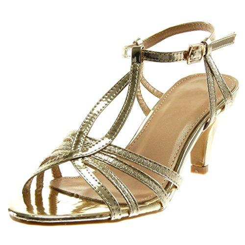 Angkorly - Damen Schuhe Sandalen Pumpe - T-Spange - knöchelriemen - Stiletto - Patent - genarbtem - glänzende Stiletto high Heel 8 cm - Gold R12-07 T 39