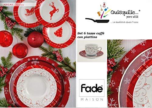 fade Servizio Piatti in Porcellana 18 Pezzi + Piatto Portata - Set 6 Tazze caffè con Piattino Abigail/Natale/Christmas (Set 6 Tazze caffè con piattino)