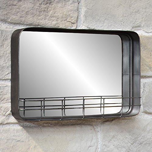 L'ORIGINALE DECO Miroir Etagère Tablette Industriel Fer Métal Mural 50x35x10cm