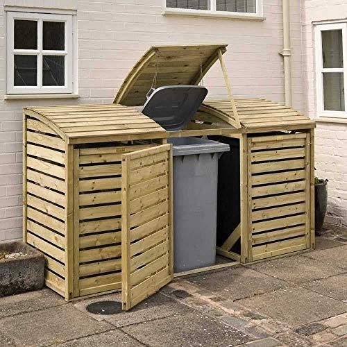 Rowlinson BINTRPL1 Triple Bin Store, Natural Timber, 3