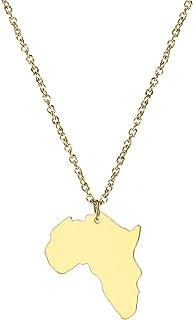 Aisoway Gioielli in Acciaio Inossidabile Gioielli Africa Mappa Collana di Colore Oro