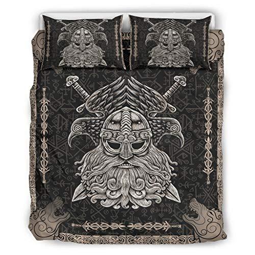 Huffle-Pickffle Viking Wolf Odin Arms - Juego de ropa de cama (264 x 229 cm), diseño de lobo, color blanco