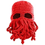 Bess Bridal Breathable Tentacle Octopus Cthulhu Knit Beanie Hat Winter Ski Mask Windproof Cap Red