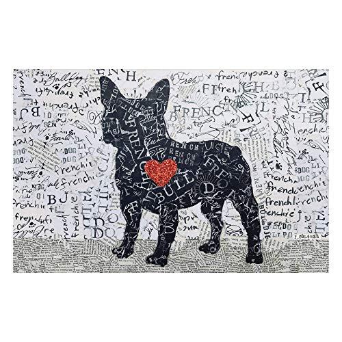"Carolina Creekhouse French Bulldog FloorFlat | Decorative Pet Feeding Mat | Vinyl Protective Dog Bowl Placemat | Plastic, Rubber, Silicone | Waterproof | 18"" x 28"" Mat"
