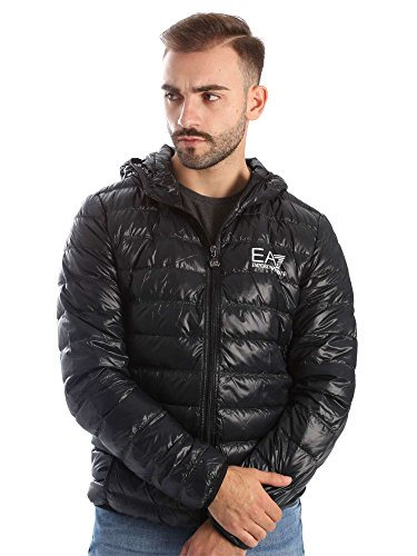 Emporio Armani Herren Train Core Down Hooded Jacket Daunenmantel, schwarz, XX-Large