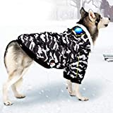 SEIS Large Dog Camo Coat with Windproof Sunglasses Winter Pet Warm Down Jacket Waterproof Costume Cold Dog Clothes for Golden Retriever Labrador (7XL (Chest Circumference 91-96cm/35.8'-37.8'))