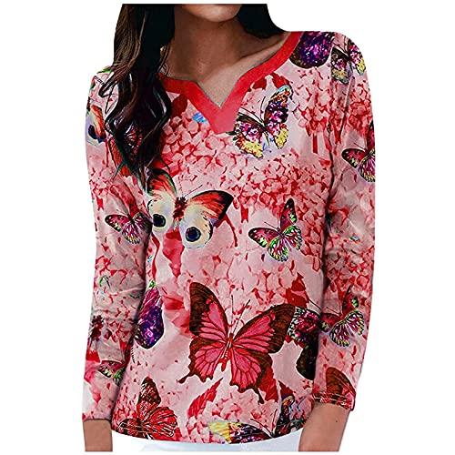Camiseta de manga larga para mujer, elegante estampado de mariposas, manga larga, cuello en V, holgada, para primavera y otoo, holgada, holgada, informal, cmoda y ligera, rojo, L