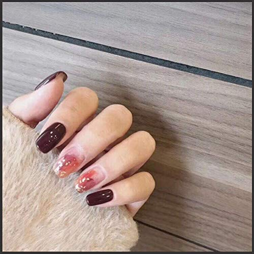 CLOAAE Ins fashion pure color with golden foil decoration fake nails Japanese bride full nail tips middle-long cute false nail