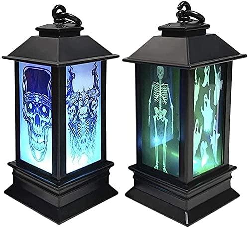 Luz LED de llama Luces de fuego 2 Paquete de la linterna de Halloween Party Decoración colgante DIRIGIÓ Lámpara de luz de luz de noche, simulación llama bruja cráneo esqueleto colgando lámpara de llam