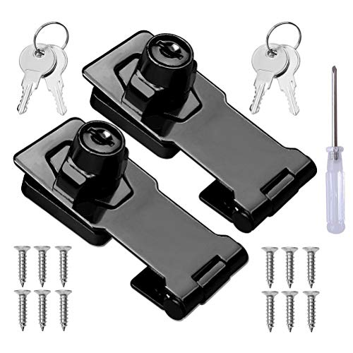 2 Packs Keyed Hasp Locks Stainless Steel,Twist Knob Keyed Locking Hasp for Small Doors, Cabinets and More with a Screwdriver,Chrome Plated (2.5Inch with Keys)
