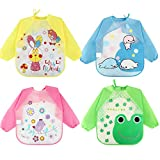<span class='highlight'><span class='highlight'>Discoball</span></span> Baby Bibs 4 Pcs Waterproof Long Sleeves Unisex Feeding Bibs Toddler Bib Baby Apron for 6 Months to 3 Years Old