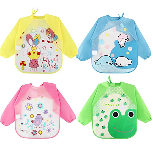Discoball Baby Bibs 4 Pcs Waterproof Long Sleeves Unisex Feeding Bibs Toddler Bib Baby Apron for 6 Months to 3 Years Old
