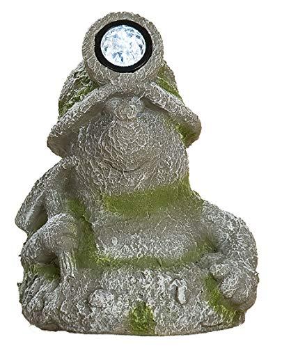 GILDE decoratief figuur, tuinfiguur mol met LED van magnesi, grijs/groen steen-look, 22x24x33 cm