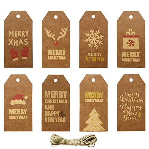160 Piezas Etiquetas de regalo Navidad Papel Kraft Etiquetas con 32.8 FT Yute Twine String, Etiquetas de Regalos 8 diseños Christma imprimibles para bricolaje Navidad Holiday Wrap de regalo Bolsas