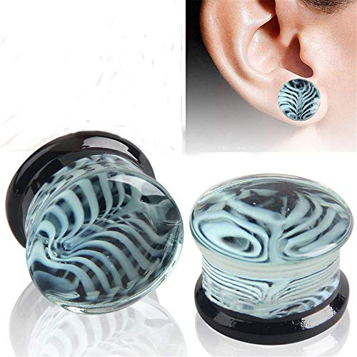 Jewelry Jinzsnk - Dilatadores de silicona para orejas, 1 par de dilatadores de oreja hechos a mano con flores azules de cristal, calibradores de túneles (tamaño: 12 mm), tamaño: 14 mm (tamaño: 10 mm)