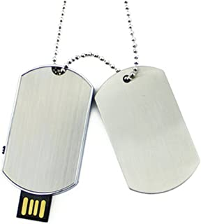 Aneew 16GB Metal Pendrive Dog Tag Necklace USB Flash Drive Memory Stick Thumb
