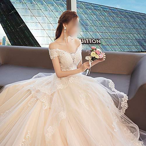 Rocke Träger Brautkleid Spitze V-Ausschnitt Brautkleid (Design : Flat, Size : XXL)