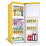 Puerta doble retro con la partición Congelador Frigorífico extraíble soporte y transparente de frutas y verduras Caja for Office Home Apartamento 58L 98L Congelador Fefrigerator (Color : Yellow)