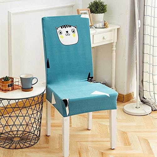 Fundas para Sillas de Comedor Perro Azul Fundas para sillas Flexible y FÁCil de Limpiar,Comedor Fundas elásticas Cubiertas para Sillas para el Hogar, Restaurante, Bar, Etc(8 Piezas)
