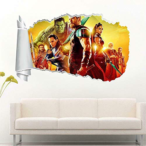 HUGF Pegatinas de pared Thor's Twilight 3d Torn Agujero Etiqueta de la pared Calcomanía Art Mural Calcomanía de