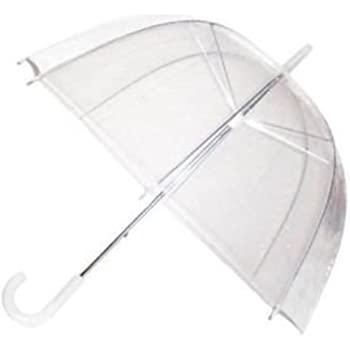 "Large 31/"" Clear See Through Dome Umbrella Ladies Transparent Walking Brolly Lot"