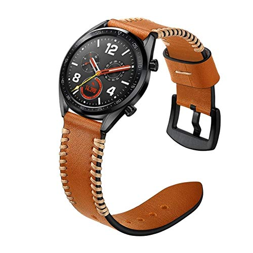 XYL-Q Correa de Reloj Watch Correa De Cuero 22 Mm For La Correa De Reloj De Huawei GT2e GT2 46mm (Negro) (Color : Brown)