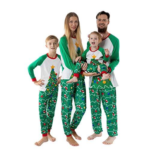 Familieoutfit Kerstmis Dasongff pyjama voor het hele gezin winter Kerstmis pyjama outfit set heren kinderen meisjes pyjama nachtkleding lange mouwen shirt en pyjamabroek Medium groen/dames.