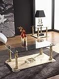 Mesa de Rincón | Cuadrada | Clásica | Medida 60 X 60 X 45 cm. | Malta | Base de mármol travertino | Tapa de Cristal 10 mm Grosor | Columnas en Baño Metálico Blanco Oro | Muy Estable y Segura.