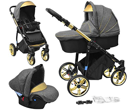 Skyline 3in1 Kombi Kinderwagen mit einem Aluminium Gestell, Babywanne, Sport Buggyaufsatz und Babyschale (ISOFIX) (Grau Melange/Gold)