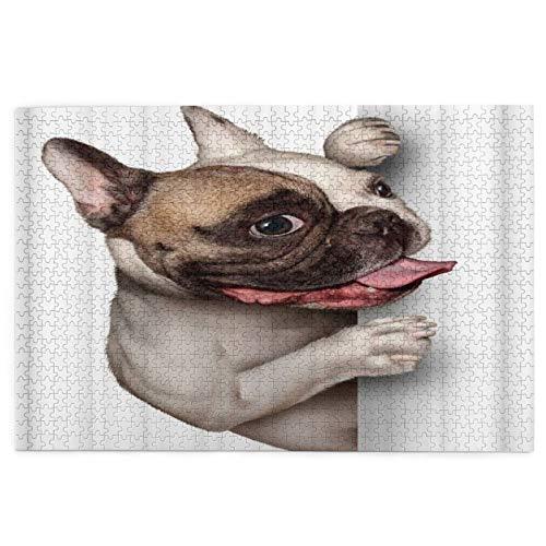 Rompecabezas de 1000 piezas para adultos Un Bulldog francés con una sonrisa feliz expresión rompecabezas para niños niñas mayores regalos