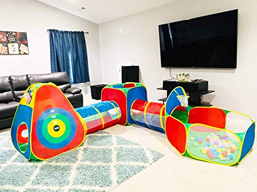 5pc Kids Ball Pit with Jungle Gym Crawl Tunnel Play TentsToy for Toddler Boys Girls Babies Infants Children Pit Balls NOT Included Indoor Outdoor Gift Target Game with 3 Dart Balls
