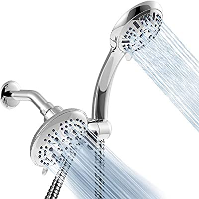 Apthrill 3-Way High Pressure Shower Head Combo – 9 Spray Settings Handheld Shower Head and 6 Spray Settings Rain Showerhead with 60 Inch Hose