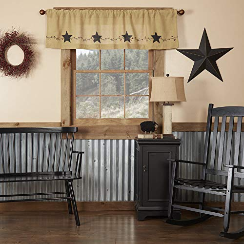 Star and Pip Country Primitive Burlap Valance Curtain 16x72