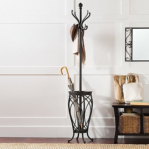 Sleek and Chic Charleston Coat Rack with 8 Hooks and an Umbrella Holder Base in Black Made of Steel - 13.5