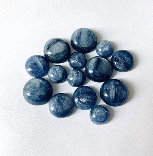 TONGTONG 4 Unids/Lote Cabujón De Cuentas De Cianita Azul 8Mm 10Mm 12Mm 14Mm 16Mm 20Mm Anillo De Cabujón De Piedra De Gema Redonda Cara