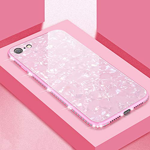 UEEBAI Hülle für iPhone XS Max, Muschel Design Handyhülle Ultra Slim mit Eingelegt Glitzer Diamant Strass Gehärtetes Glas Zurück Abdeckung Flexible TPU Bumper Case Anti Kratzer Frauen - Rosa